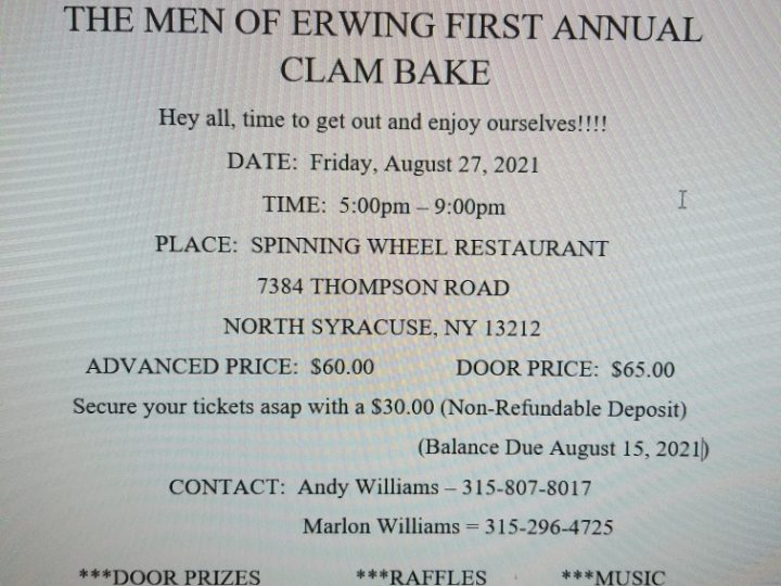 August 27th: The Men of Erwing First Annual Clam Bake